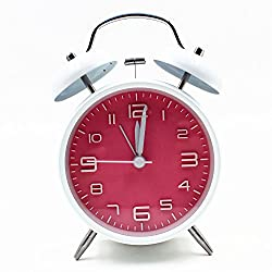 EIALA 4 Retro Vintage Twin Bell Bedside Alarm Clock Simple Quiet Non-ticking Silent Quartz Analog Alarm Clock with Loud Alarm and Night Light (White+Pink)