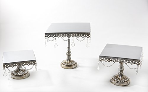 Opulent Treasures Square Chandelier Cake Stands Set of 3 (Silver) by Opulent Treasures