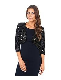 KRISP Womens Elegant Sequin Shrug Bolero Cropped Top Open Cardigan Party Jacket