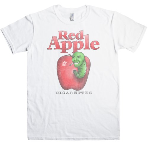 Mens T Shirt - Red Apple Cigarettes - White - XL (Apple Cigarettes Red)
