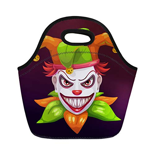 Semtomn Lunch Bags Red Bad Crazy Creepy Joker Face Angry Clown Evil Neoprene Lunch Bag Lunchbox Tote Bag Portable Picnic Bag Cooler Bag]()