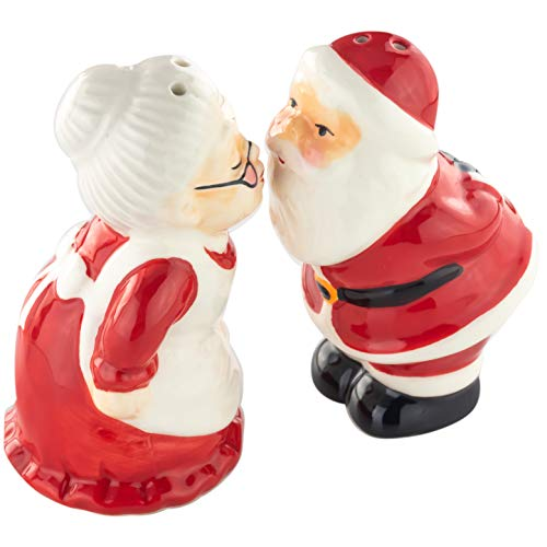 Adorable Kissing Christmas Salt and Pepper Shaker Set for Holiday Tabletop Decor. Collectible Ceramic Shaker Makes Charming Secret Santa, White Elephant Present, Gift for Grandma or Stocking Stuffer
