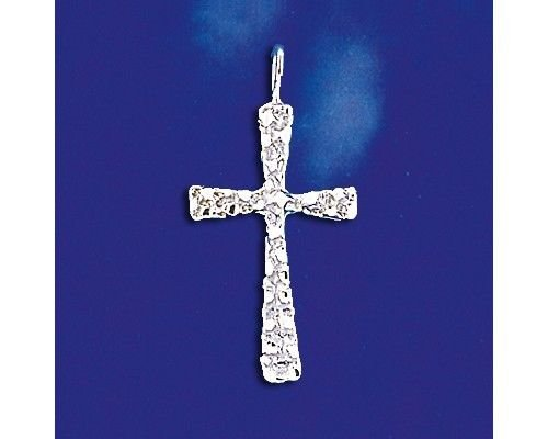 (Sterling Silver Nugget Cross Pendant Christian Religious Charm Solid 925 Silver - Silver Jewelry Accessories Key Chain Bracelet Necklace Pendants)