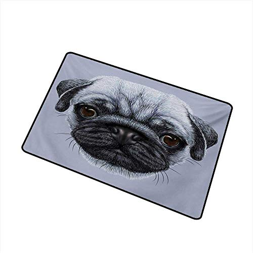 Pug Welcome Door mat Realistic Style Detailed Young Dog with Cute Giant Eyes Pure Breed Pug Blue Backdrop Door mat is odorless and Durable W15.7 x L23.6 Inch,Slate Blue