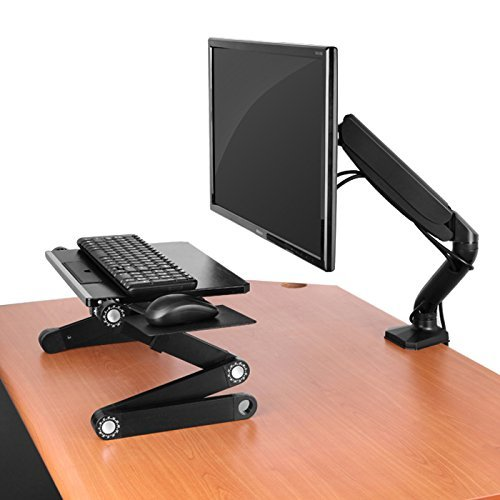 (Single Computer Monitor Arm Mount with 2 USB Ports. Ergonomic Adjustable Height Universal VESA LCD Holder with Gas Spring. Office Standing Desk Accessories Organizer. C-Clamp & Grommet Connection)