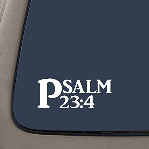 CMI DD736 Psalm 23:4 Bible Verse Decal Sticker | 7.5-Inches By 3-Inches | Religious Motivational Inspirational Educational | Premium Quality White Vinyl