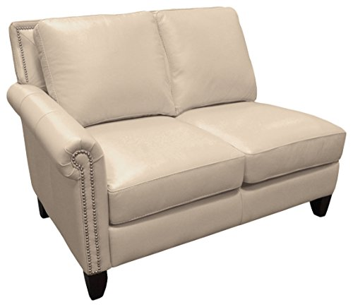 Omnia Leather Benjamin Left Arm 2 Cushion Loveseat in Leather, with Nail Head, Softstations White Winter
