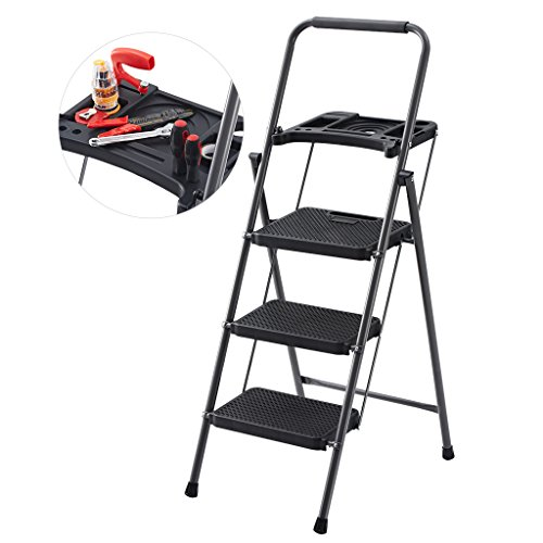 Finether 48.8'' Heavy Duty Steel Folding 3-Step Ladder with Tool Project Tray, EN14183 Certified, Wide Platform, Non-Slip Treads, 331 lbs Weight Capacity for Household Kitchen Office (Heavy Duty Platform Ladder)