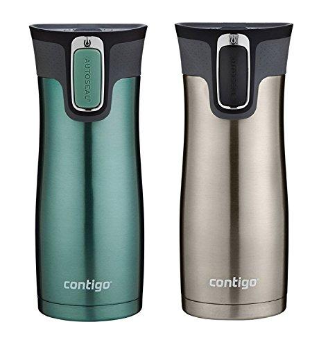 Contigo AUTOSEAL Travel Mug - Vaso con aislamiento de vacío de acero inoxidable - Paquete de 2 (Verde / Acero inoxidable)