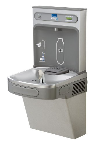 Elkay LZS8WSLK Wall Mount Drinking Fountain with Bottle Filler Station, Light Gray - Drinking Ada Fountains