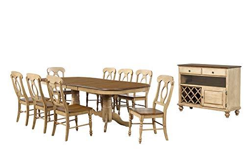 Sunset Trading DLU-BR4296-C50-SRPW10PC Brook Dining Table Set Distressed Sonoma Oak and Light Walnut