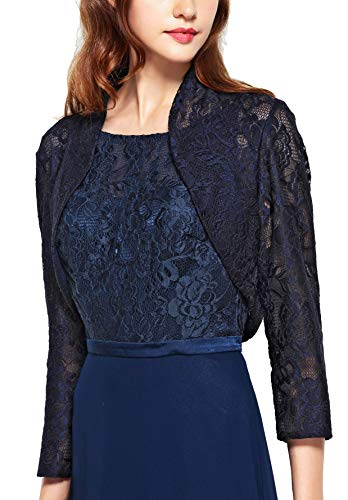 Chic Queen Women's Long Sleeve Floral Lace Shrug Bolero Cardigan(L/Navy)