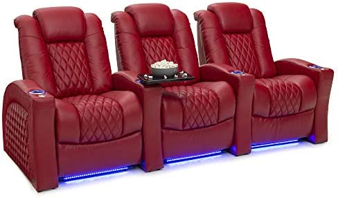 Seatcraft Stanza – Home Theater Seating – Power Recliners – Leather – Adjustable Powered Headrest and Lumbar Support – Cup Holders – USB Charging – Ambient Lighting- SoundShaker – Row of 3 – Red
