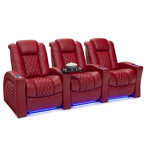 Seatcraft Stanza - Home Theater Seating - Power Recliners - Leather - Adjustable Powered Headrest and Lumbar Support - Cup Holders - USB Charging - Ambient Lighting- SoundShaker - Row of 3 - Red