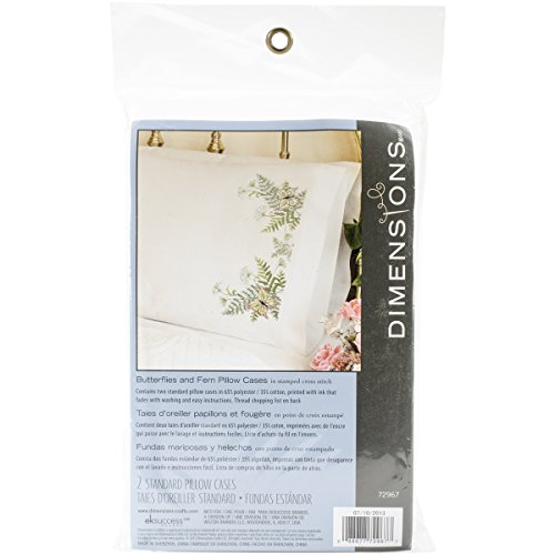 Dimensions Needlecrafts Stamped Cross Stitch, Butterflies and Fern Pillow Cases ()