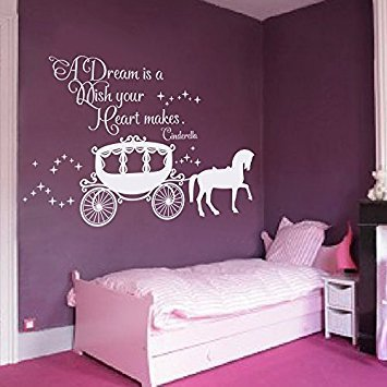 Princess Nursery Decor (Wall Decal Decor Cinderella Quote - A dream is a wish your heart makes Wall Decal with Princess Carriage for Girls Nursery Baby Gift Kids Decal(White, 22