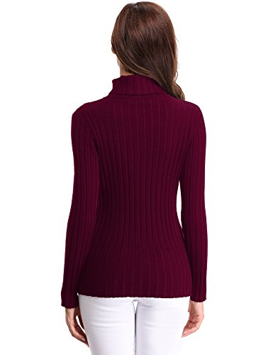 Invernali Manica Lungo Maglione Maglioni Abollria Rosso Dolcevita Eleganti E Regalo collo Caldo Donna Alto Vestito Maglieria Vino A Girocollo Ideale Pullover Collo Lunga axIE0n0pd