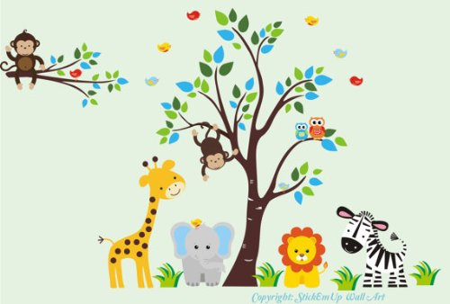Baby Nursery Wall Decals Safari Jungle Childrens Themed 83'' X 125'' (Inches) Animals Trees Wildlife: Repositionable Removable Reusable Wall Art: Better than vinyl wall decals: Superior Material