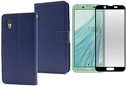 PLATA AQUOS sense2 & Android One S5 ケース 手帳型 カバー 手帳型ケース シンプル 【 ブルー 】 液晶ガラスフィルム 付属 なめらかな手触り 傷防止 高透過率 FDSH01L-02GLB
