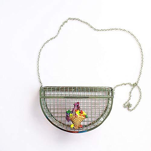 tracolla della borsa a sera Nuovo Il borsa metallo Argento frizione Unico borsa borse partito design Argento tracolla a cava del della signore gabbie personalità di Pnizun delle fashion Zx7wBRa