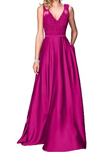 Viola preferiti ressing ivyd Charmeuse da A di abito di a donna line V prom Fest sera pizzo scollo SSrwxqn