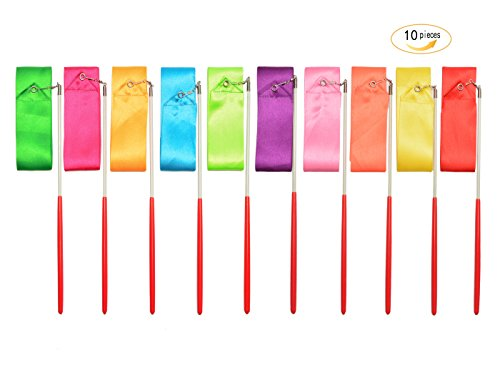 Yolito 10 Pieces Dance Ribbon Dazzler Wands Gymnastics Dancing Streamers with Paint Handle for Kids Art Dances, Baton Twirling by Yolito