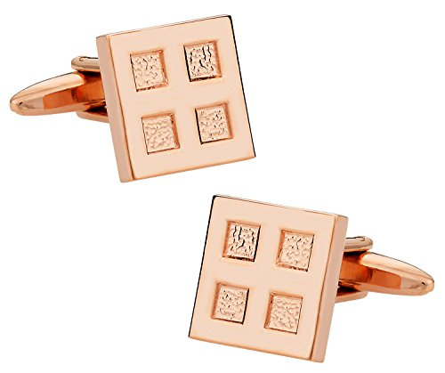 Cuff-Daddy 4 Square Rose Gold Tone Cufflinks ()