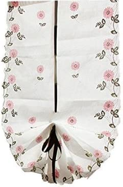 ZHH Pastoral Style Roman Shade Handmade Daisy Embroidery Curtain High 68 Inch by Width 25 Inch, Pink Flowers on White