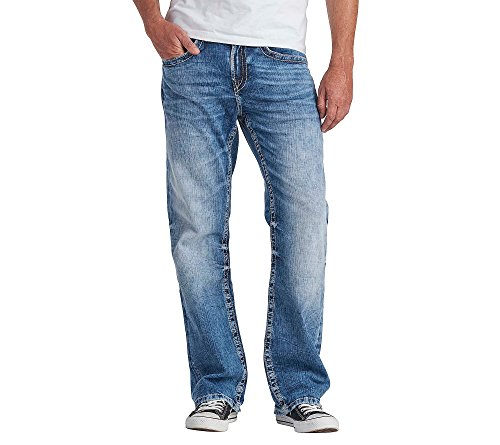 Co Stretch Denim Button Front (Silver Jeans Co. Men's Craig Bootcut Jeans Light Wash 36x32)
