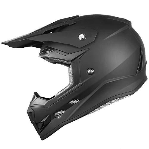 GLX Youth Kids Motocross Dirt Bike Off-Road ATV BMX MX Downhill Mountain Bike Helmet DOT Approved (Matte Black, Medium)