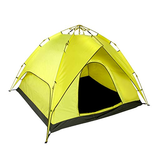 Zenph Family Camping Tents, 2 Person Rainproof Instant Camping Tent Automatic Waterproof Pop up Tents for Summer Outdoor Backpacking Yellow