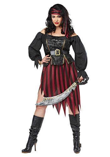 California Costumes Women's Size Queen of The High Seas Adult Woman Plus Costume, Black/Burgundy, 2X Large