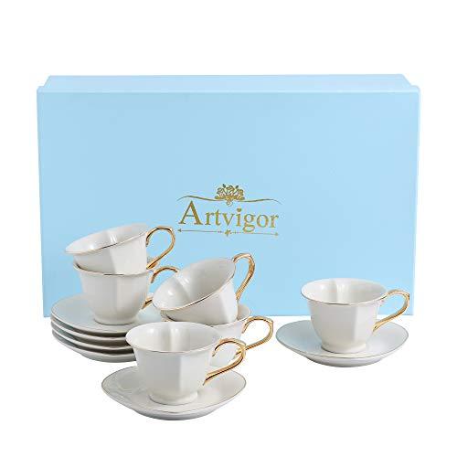 ARTVIGOR Coffee and Tea Service Set Heart Shape Cream White Porcelain Gold Rimmed Gift Box for 6