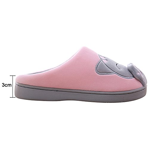 Casa Rosa Antiscivolo Peluche Donna Slippers Cartoon Indoor Cotone Pantofole Scrape BqXSw4