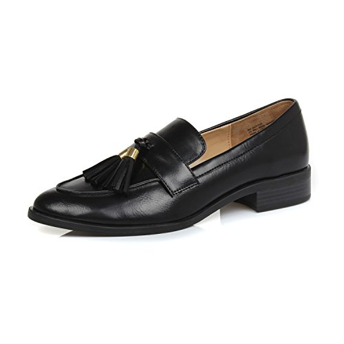 DUNION Women's Brandon Chain Decorated Penny Loafers Low Heels Almond Toe Casual Daily Shoe Bertha Black