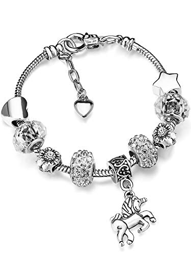- Unicorn Sparkly Crystal Charm Bracelet Bangle with Gift Box Set for Girl Lady (White, 16 cm/ 6.3 Inch)