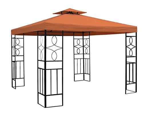 WASSERDICHTER Pavillon 3x3m Terrakotta ROMANTIKA Metall inkl. Dach Festzelt wasserfest Partyzelt von Trendkontor