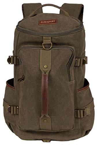 Eurosport Versatile Canvas Computer Bag Duffel Backpack Adjustable Straps Padded Olive Green B718 (Eurosport Canvas Backpack)