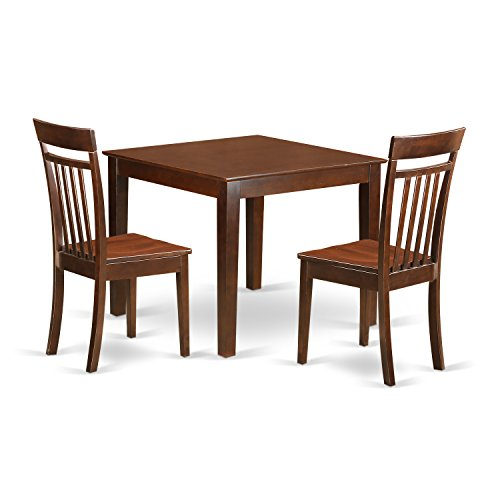 East West Furniture OXCA3-MAH-W 3 PC Dinette Table Set with One Oxford Dining Table & Two Dining Chairs in Mahogany Finish