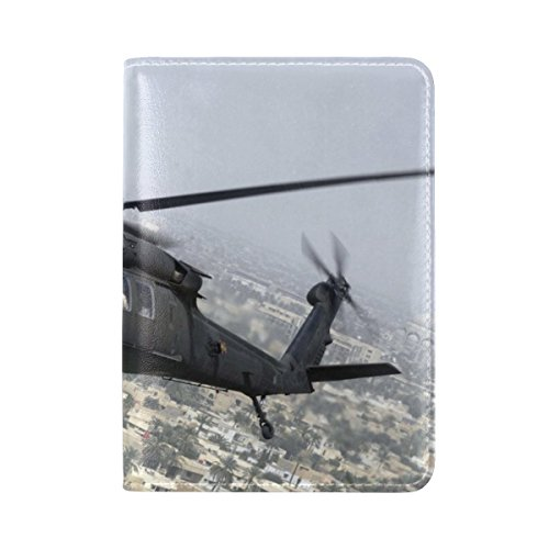 Uh 60 Black Hawk Sikorsky Aircraft Helicopter Flying Sky Leather Passport Holder Cover Case Travel One Pocket