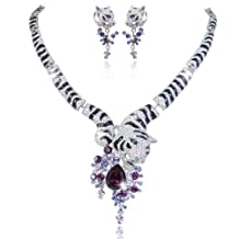 Ever Faith Tiger Flower Teardrop Austrian Crystal Necklace Earrings Set