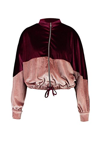 Boohoo Womens Plus Size Lelia Velvet Colour Block Bomber Jacket In Burgundy Size - Jacket Block