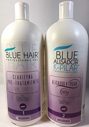 (Cirugía Capilar Blue Hair 2 pasos (32 Oz) 946 ML SHAMPO-ALISADOR)