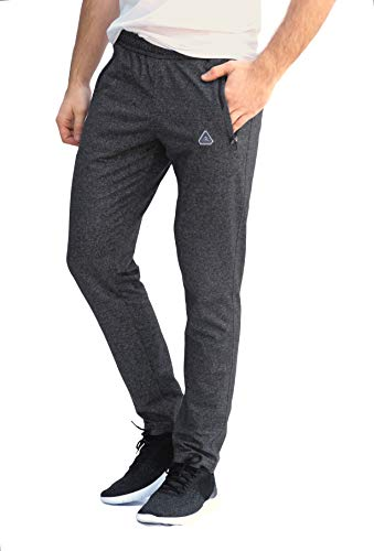 Soccer Track Training Pants Athletic Sweatpants with Zipper Pockets Black Heather Grey Short Long Inseam (Large x 30L, Heather Grey) ()