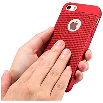 iPhone 5/5S/SE Case Ultra Slim/Thin Lightweight Breathable Cooling Mesh Case,Protection Cover for iPhone 5/5S/SE (Red) ...