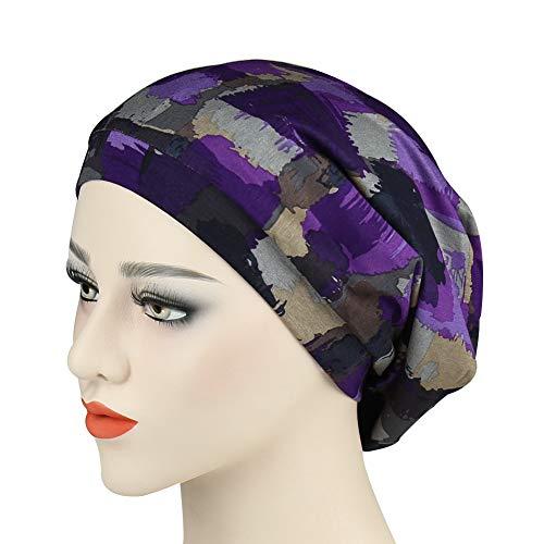 Slouchy Striped Beanie Hat Comfortable Head Wrap Cap