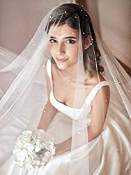 Unsutuo Bride Wedding Veil Cathedral 2 Tier Ivory Bridal Chapel Veil Wedding Pearl Headpieces for Bridal Shower