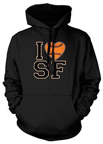 Cybertela I Love San Francisco Baseball Heart Sweatshirt Hoodie Hoody (Black, - Love Francisco Bridge San
