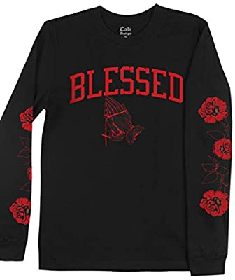 Men's Black Blessed Long Sleeve T Shirt Roses on Sleeve Flower Red Rose Tee
