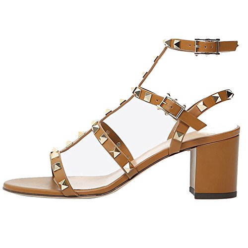 Comfity Sandals for Women,Rivets Studded Strappy Block Heels Slingback Gladiator Shoes Cut Out Dress Sandals Light Brown 5cm Size 7 ()